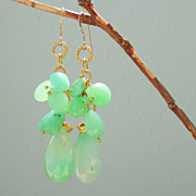 SALE Chrysoprase Cascade Mint Green Drop Earrings