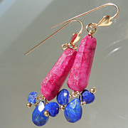 SALE Lapis Lazuli and  Ruby Moonstone Heart  Contemporary Drop Earrings