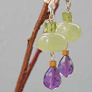 SALE Peridot, Amethyst, and Prehnite Drop Earrings