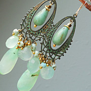 SOLD Chrysoprase, Turquoise, Bronze Chandelier Earrings