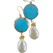 Turquoise and Coin Pearl  Drop Earrings - Sleeping Beauty from the Arizona mine