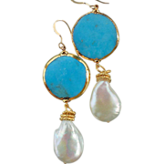 SALE Turquoise and Coin Pearl  Drop Earrings - Sleeping Beauty from the Arizona mine
