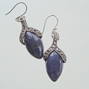 SALE Lapis Lazuli and Marcasite Drop Earrings