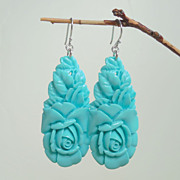SALE Blue Sky Turquoise Color Pressed Roses Teardrop Earrings