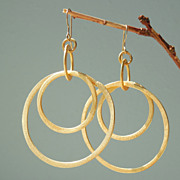 SOLD Summer Gold - Hoop Earrings Feather Light Circles