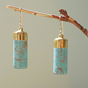 SOLD Turquoise Cylinder Earrings Sky Blue Barrels