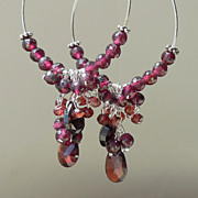 SALE Garnet  Oxblood Red Hoop Earrings