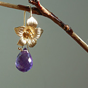 SALE Amethyst Flower Floral Drop Earrings