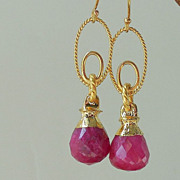 SALE Ruby Briolette Petite Drop Earrings
