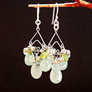 SALE Chrysoprase, Moonstone, Blue Topaz, Peridot Chandelier Earrings