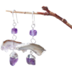 Amethyst Druzy Quartz Geometric Contemporary Drop Earrings