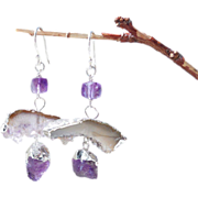 SALE Amethyst Druzy Quartz Geometric Contemporary Drop Earrings