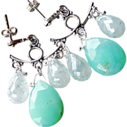 SALE Chrysoprase Green Chandelier Earrings