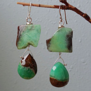 SALE Chrysoprase Green Boulder Double Drop Earrings