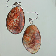 SOLD Sunset Jasper Stone Boulder Drop Earrings - Clearance