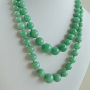 Lotus Green Agate Hand Knotted Double Strand Necklace