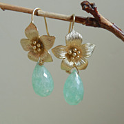 SALE Green Chrysoprase Flower Drop Earrings