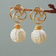 SALE White Coral Post Drop Earrings