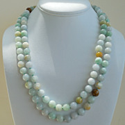 "SALE Burmese Jade 44"" Hand Knotted Necklace"