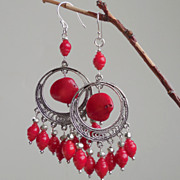 SALE Red Coral and Pyrite Chandelier Earrings