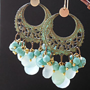 SALE Sea Green Chalcedony Verdigris Brass Chandelier Earrings
