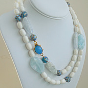 SALE White Coral,  Aquamarine, Blue Onyx 41&quot; Long Necklace