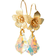SALE Swarovski Crystal  Baroque Teardrop Flower Earrings