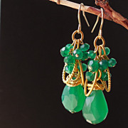 SOLD Emerald Green Onyx Contemporary Drop Earrings