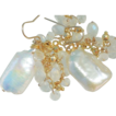 SALE Moonstone and Baroque Pearl White Drop Earrings