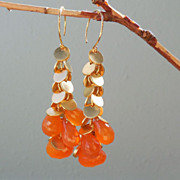 SALE Orange Tangerine  Carnelian Long Drop Earrings
