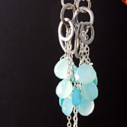 SALE Turquoise, Chalcedony, Sea Green Long Fringe Earrings