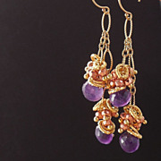 SALE Amethyst the color of  African Violet  Drop Earrings