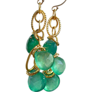 SALE Emerald Green Onyx Candy Drop Earrings