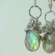 SALE Labradorite Wire Wrapped Chic Statement Earrings