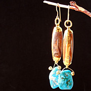 SALE Petrified Wood  and Mexican Turquoise Dangle Earrings