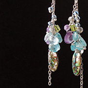 SALE Abalone Shell, Amethyst, Peridot, Apatite Cluster Drop Earrings