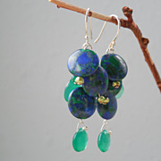 SALE Azurite, Emerald Green Onyx Drop Earrings