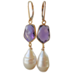 SALE Amethyst Quartz and Baroque Pearl Drop Earrings