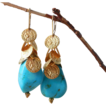 SALE Gold Coin Discs and Turquoise Magnesite Dangle Earrings