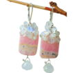 SALE Moonstone and Rhodochrosite Pink Ice  Drop Earrings