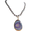 Slice Agate Pendant, Hand Knotted Grey Pearls Necklace