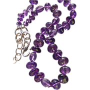 REDUCED Clearance- Royal Purple Amethyst Hand Knotted Sterling Silver Necklace