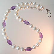 SALE Clearance- Amethyst and Hand Knotted Pearls Necklace