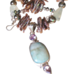 Clearance- Larimar, Amethyst, Aquamarine, Pyrite, and Biwa Pearls Bohemian Necklace