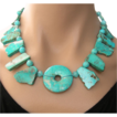 Clearance- Mexican Turquoise Hand Knotted Necklace Tribal Chic