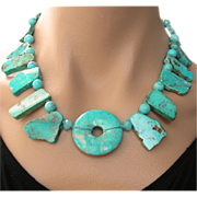 REDUCED Clearance- Mexican Turquoise Hand Knotted Necklace Tribal Chic