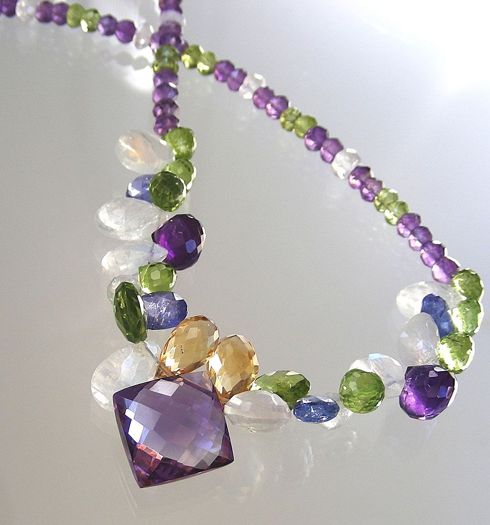 Clearance- Amethyst, Tanzanite, Moonstone, Citrine,  Peridot Briolette Necklace