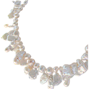 SALE Keishi Tile Pearls with Sea Shell Clasp Hand Knotted Necklace