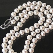 "SALE 27"" Long Matinee Pearl Necklace Hand Knotted White Classic"