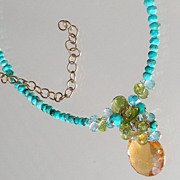 SOLD Citrine, Blue Topaz, Peridot,  Sleeping Beauty Turquoise Necklace